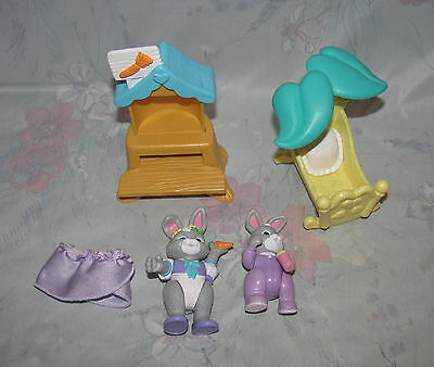Fisher Price Hideaway Hollow Set - 2 Rabbits, Baby, Cradle, Carrot Shelf