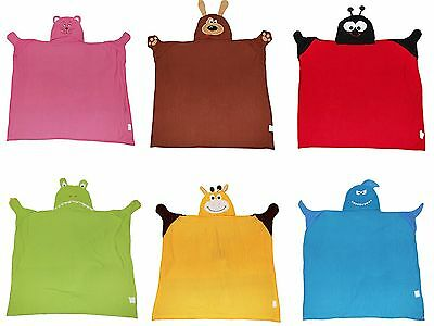 Childrens/Kids Animail Hooded Robe Blanket Cuddle Buddy (80cms x 90cms)