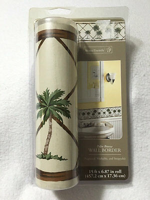 NEW Home Trends Palm Breeze Prepasted Wall Border Wallpaper 15 ft Roll