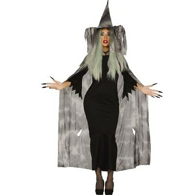 Witch's hat and Witch cape Halloween Fancy dress Sorceress Costume Mage