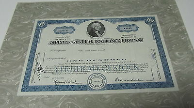 """Franklin Mint Authentic Stocks or Bonds """" American General Insurance Company """""""