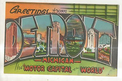 Greetings From DETROIT MI Vintage Large Letter Linen Michigan Postcard