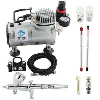 OPHIR Pro 3 Tips Dual Action Airbrush Gravity Paint Gun Kit with Compressor 110V