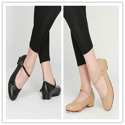 LEATHER Buckle Tap Shoes Black or Beige Quality Taps Modern Dance Supplies AU