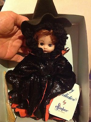 """WITCH Collectible Halloween  Doll 8.5"""" Broom,Tag, Stand NIB Effanbee Vinyl"""