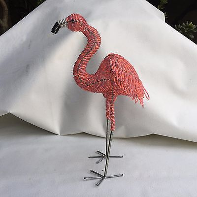 Tropical Standing Pink Flamingo Beaded Wire Sculpture,   18 1/2 inches