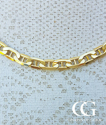 """Men's 9ct Yellow Gold 5.4mm Rambo Anchor Chain Necklace 20"""" 22"""""""