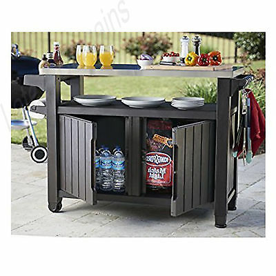 Keter Entertainment Storage Unit Outdoor BBQ Party Table Bench