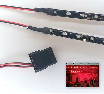 Red Modding Pc Case Light Led Kit (Twin 15Cm Strip) Molex 40Cm Tails