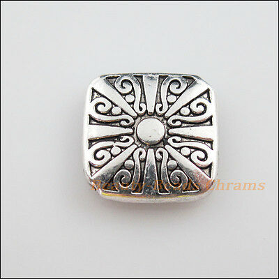2 New Charms Tibetan Silver Tone Flower Square Flat Spacer Beads 16.5mm