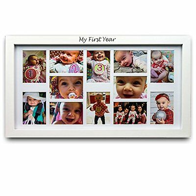 My First Year Baby Picture Frame - Baby Keepsake Frame - 12 Photo Moments -