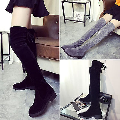 Womens Ladies Over The Knee Thigh High Faux Suede Stretch Low Heel Flat Boots