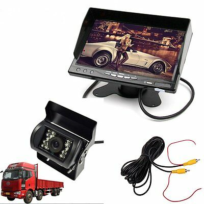 """12-24V Auto Truck Trailer Parking System 7"""" LCD HD Monitor + Camera 10M Cable"""