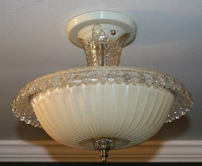 Antique cream glass semi flush art deco light fixture ceiling chandelier 1940s