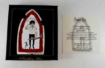 """""""Sweet Land Of Liberty"""" P. Buckley Moss Porcelain Ornament With COA"""