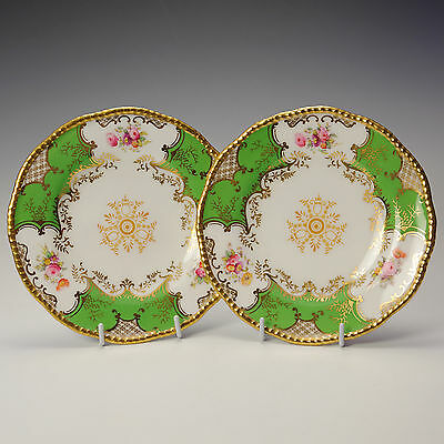 Coalport Batwing Panel Apple Green Two Side / Tea Plates 1891-1920