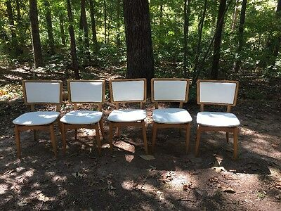 5 Vintage Mid Century Modern Stakmore Folding Chairs Excellent Condition 1960s