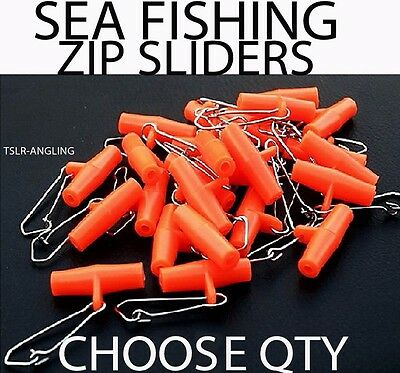 Sea Fishing Tackle Zip Sliders - Sliding Rig Booms - Cod Pollack Etc Choose Qty