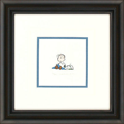 Peanuts Linus Snoopy Blanket Framed Etching LE 500 Small Paper Signed NEW