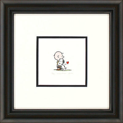 Peanuts Charlie Brown and Snoopy G Framed Etching LE 500 Lg Paper Signed NEW