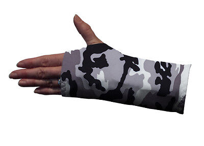 Wrist Splint/Brace Cover, Grey Camo, protects clothing and furnishings