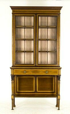 B421 Edwardian Inlaid Mahogany Glass Fronted Curio, Display Cabinet, Bookcase