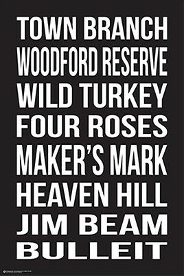Bourbon Brands Poster Wild Turkey Makers Mark Jim Beam Woodford 24X36 Free Ship
