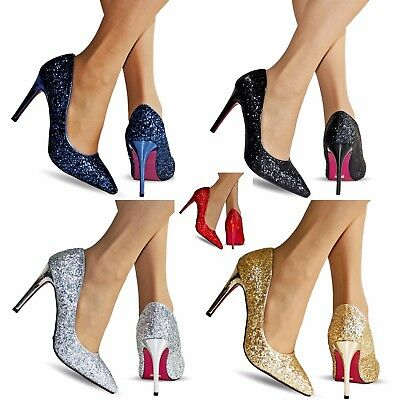 NEW Ladies Party Prom Evening Super Sparkly Glittery High Heel Court Shoes Size