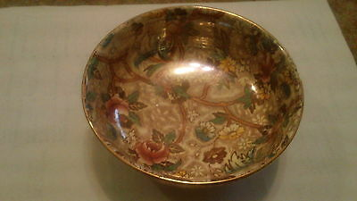 Vintage Maling Newcastle Floral Bowl Gold Trim Candy Dish Collectible 1527 5in