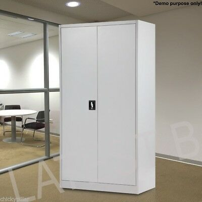180cm Steel Storage Cabinet Metal Locker Office Garage File Stationery Cupboard