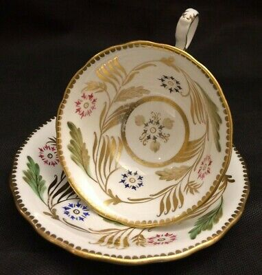 Vintage Royal Chelsea England Pink-Green-Blue-Gold Cup And Saucer Set