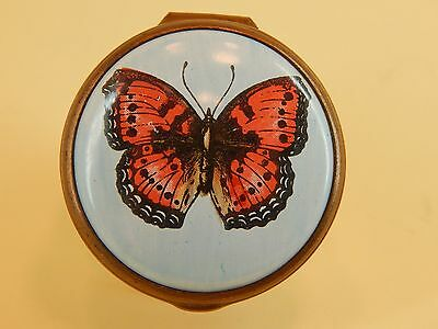 "Bilston & Battersea Enamel Trinket Box Hinged Lid, ""Butterfly - CARTIER New York"