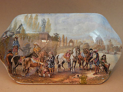 19th Century Staffordshire China Lidded Box -Wouvermann Pinx Hunting Scene