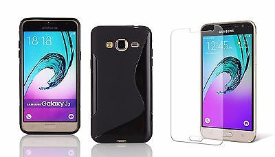 Black S-Line Tpu Case+ Clear Tempered Glass For Samsung Galaxy J3