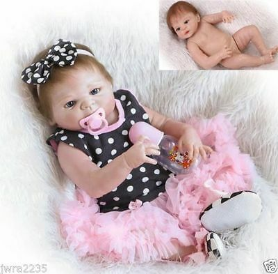"23"" Full Silicone Girl Body Reborn Baby Doll Lifelike Baby Doll Dolls"