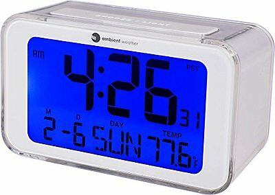 ❤ Ambient Weather Rc-8427 Radio Controlled Projection Alarm Clock With Indoor ❤