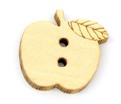 20 Apple shaped natural wooden Buttons 16mm Great for Children Knitting sewing
