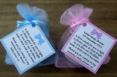 Baby Shower Favours Gifts With Vanilla Candle Bows Yellow Blue
