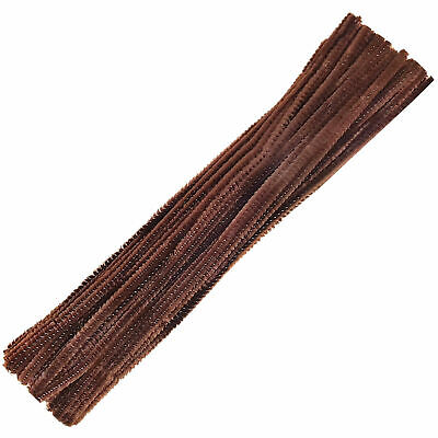 """Brown Chenille Craft Stems Pipe Cleaners 30cm 12""""  Brown pipe cleaner  UK Seller"""