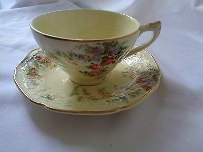 Crown Ducal Made in England Florentine Rosalie Cup And Saucer