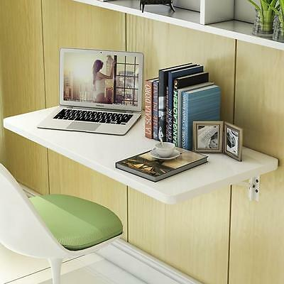 White Wall Mount Floating Folding Computer Desk Home Office PC Table Well Made