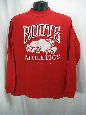 Vtg ROOTS Athletics Beaver Logo LS Tshirt Red One Size Mock Neck Made in Canada