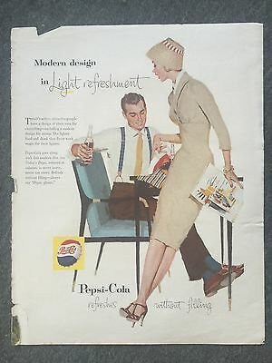 Original 1957 Pepsi Cola Refresh Without Filling Ad WOULD LOOK GREAT FRAMED