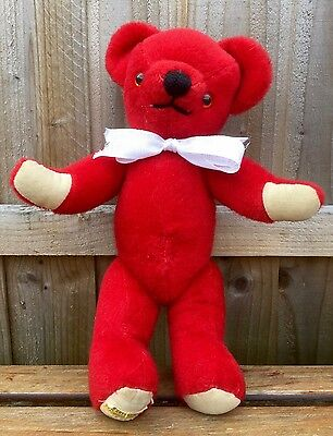 Vintage Merrythought- Bright Red Articulated Jointed Plush Collectors Teddy Bear