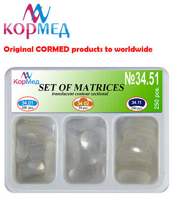 250 PCS Dental kit of transparent sectional contoured matrices matrix