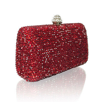 Marc Defang Ruby Red Crystals Luxury Handmade Bridal Clutch