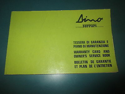 Ferrari 308 Dino GT4 1975 Warranty and Owners Service Manual Handbook # 90/74