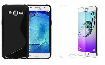 Black S-Line Tpu Case+Clear Screen Protector For Boost Mobile Samsung Galaxy J7