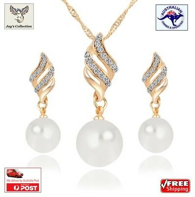 Fashion For Women Necklace Earring Jewelry Set Crystal Gold Silver Plated [A0G2]