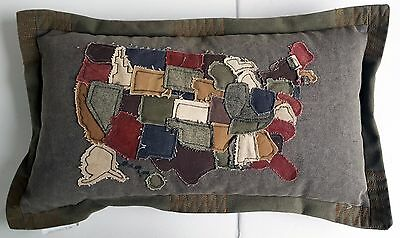Primitives by Kathy Pillow Map of United States of America Pillow NWT